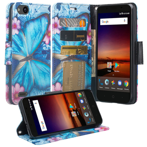 ZTE Blade Force Wallet Case [Card Slots + Money Pocket + Kickstand] and Strap - Blue Butterfly