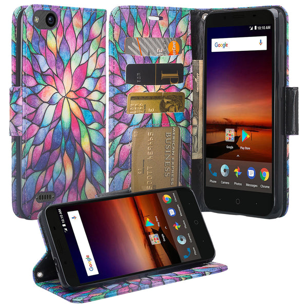 ZTE Blade Force Wallet Case [Card Slots + Money Pocket + Kickstand] and Strap - Rainbow Flower