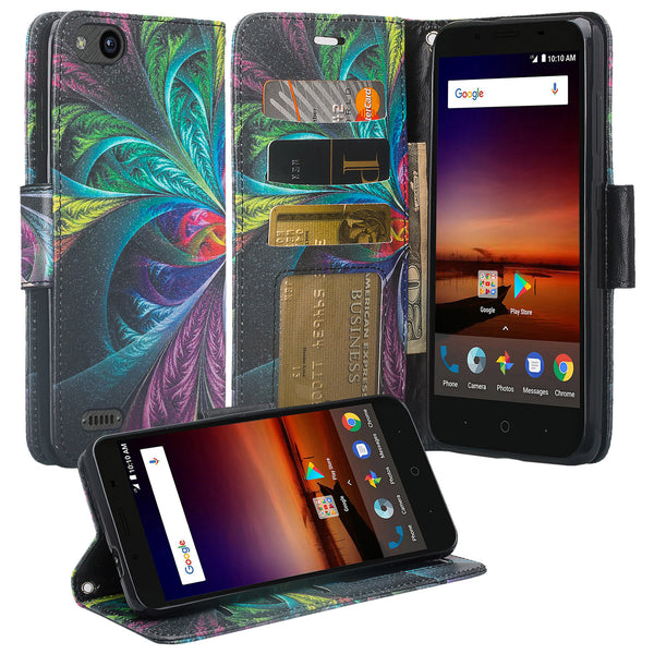 ZTE Blade Force Wallet Case [Card Slots + Money Pocket + Kickstand] and Strap - Feather