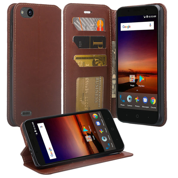 ZTE Blade Force Wallet Case [Card Slots + Money Pocket + Kickstand] and Strap - Brown