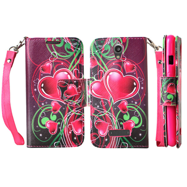 ZTE Obsidian leather wallet case - heart strings - www.coverlabusa.com