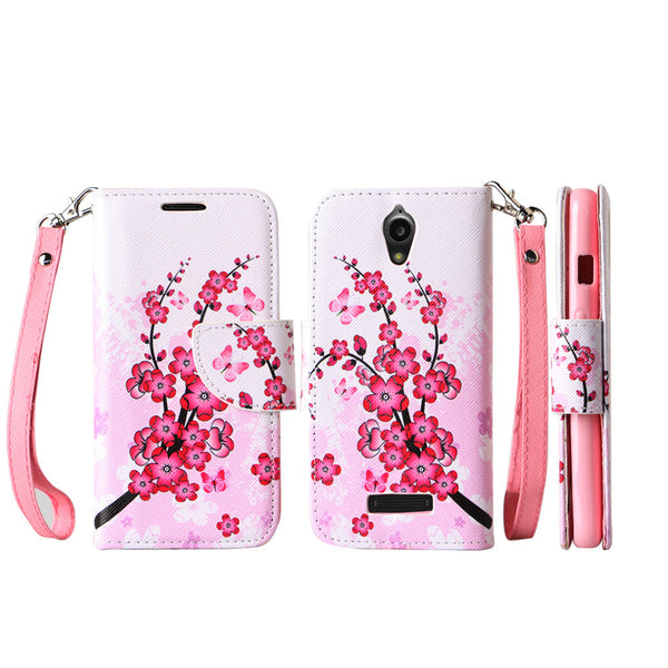 ZTE Obsidian leather wallet case - cherry blossom - www.coverlabusa.com