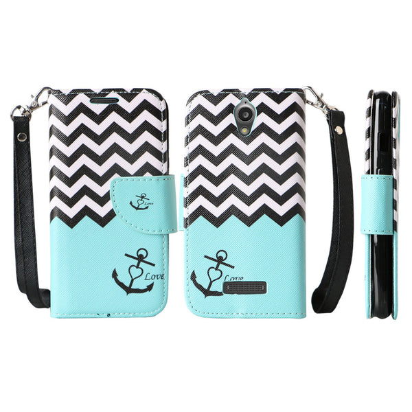 ZTE Obsidian leather wallet case - teal anchor - www.coverlabusa.com