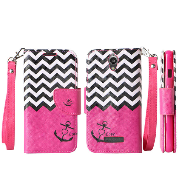 ZTE Obsidian leather wallet case - hot pink anchor - www.coverlabusa.com