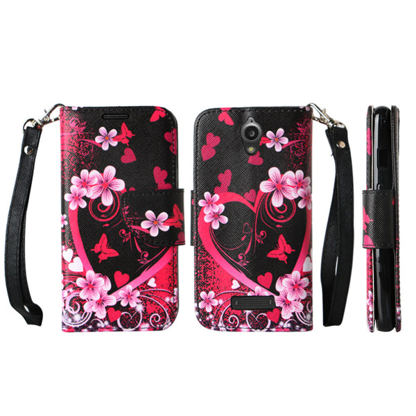 ZTE Obsidian leather wallet case - heart butterflies - www.coverlabusa.com