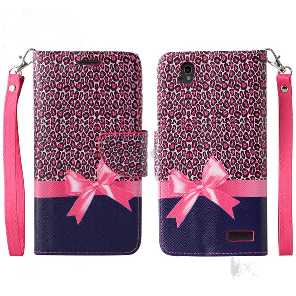 ZTE Warp Elite Wallet Case [Card Slots + Money Pocket + Kickstand] and Strap - Cheetah Prints