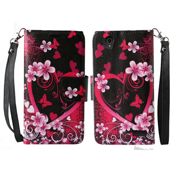 ZTE Warp Elite Wallet Case [Card Slots + Money Pocket + Kickstand] and Strap - Heart Butterflies