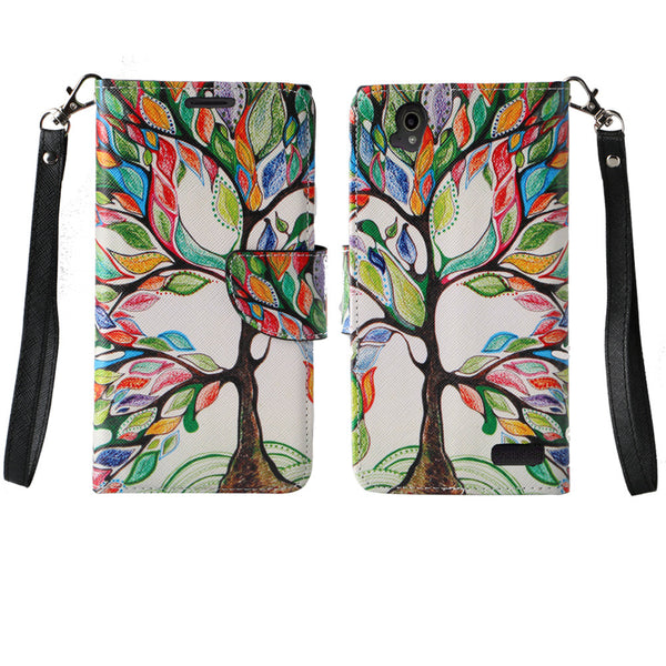ZTE Warp Elite Wallet Case [Card Slots + Money Pocket + Kickstand] and Strap - Colorful Tree