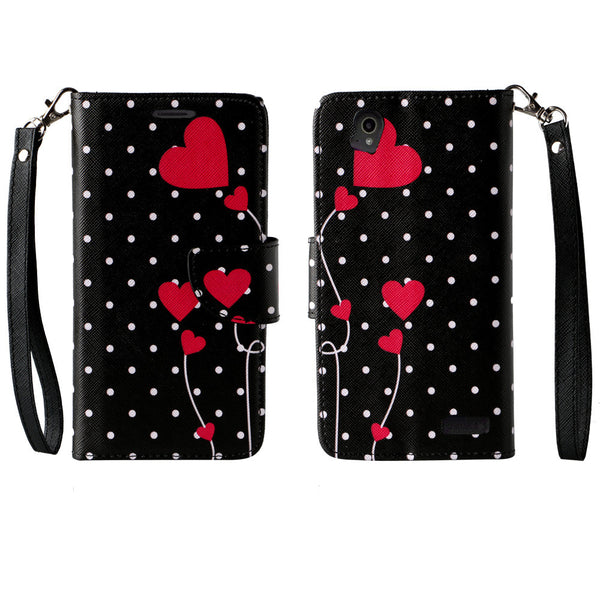 ZTE Warp Elite Wallet Case [Card Slots + Money Pocket + Kickstand] and Strap - Polka Dot Hearts