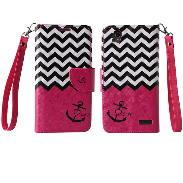 ZTE Warp Elite Wallet Case [Card Slots + Money Pocket + Kickstand] and Strap - Hot Pink Anchor