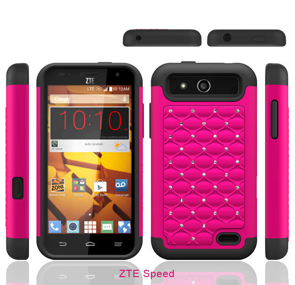 ZTE Speed Rhinestone Case - hot pink/black - www.coverlabusa.com