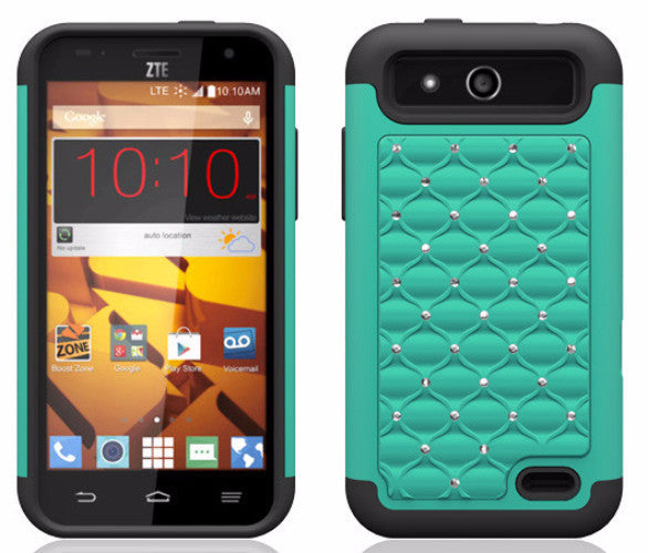 ZTE Speed Rhinestone Case - teal/black - www.coverlabusa.com