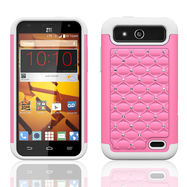 ZTE Speed Rhinestone Case - pink/white - www.coverlabusa.com
