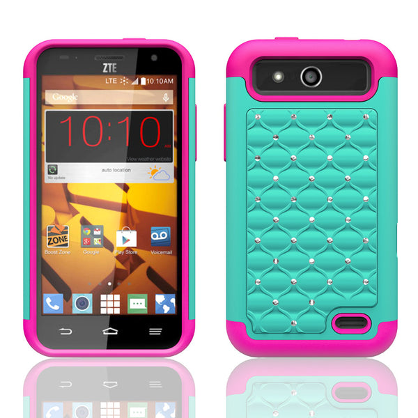 ZTE Speed Rhinestone Case - teal/hot pink - www.coverlabusa.com