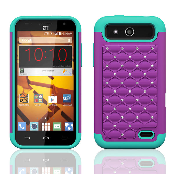 ZTE Speed Rhinestone Case - purple/teal - www.coverlabusa.com