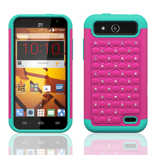ZTE Speed Rhinestone Case - hot pink/teal - www.coverlabusa.com