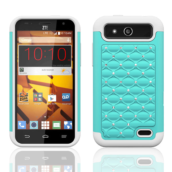 ZTE Speed Rhinestone Case - baby teal/white- www.coverlabusa.com