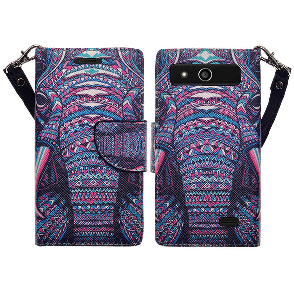 ZTE Speed leather wallet case - tribal elephant - www.coverlabusa.com