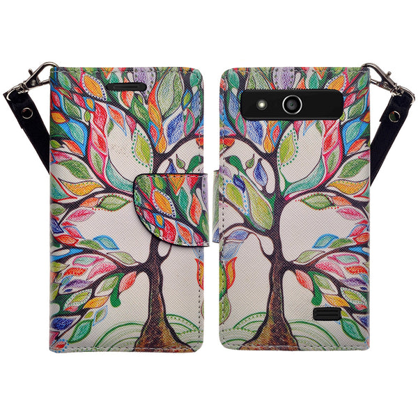 ZTE Speed leather wallet case - colorful tree - www.coverlabusa.com