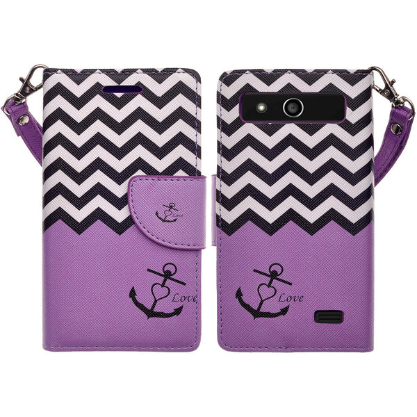ZTE Speed leather wallet case - purple anchor - www.coverlabusa.com