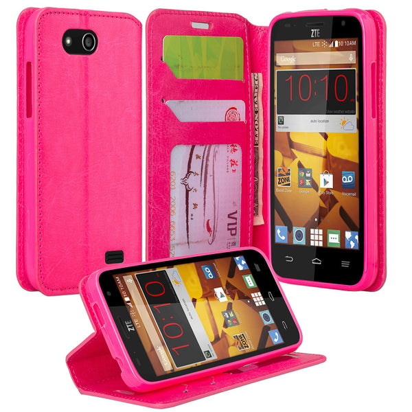 ZTE Speed leather wallet case - hot pink - www.coverlabusa.com