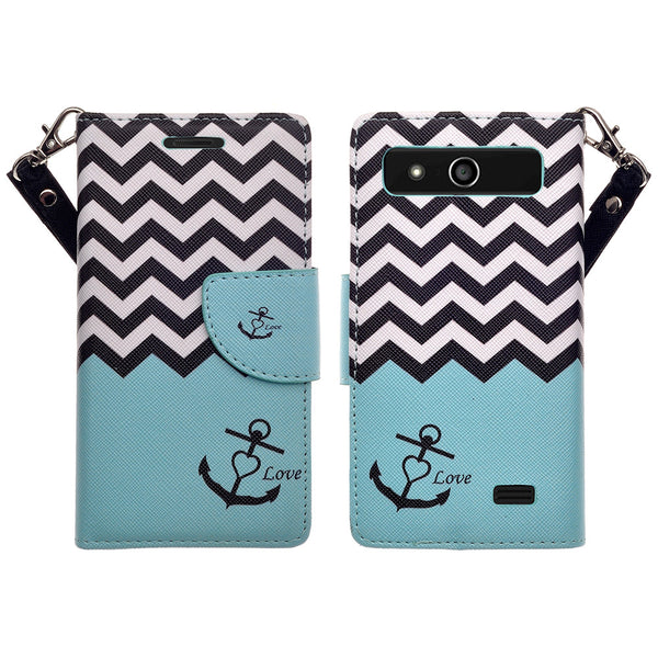 ZTE Speed leather wallet case - teal anchor - www.coverlabusa.com