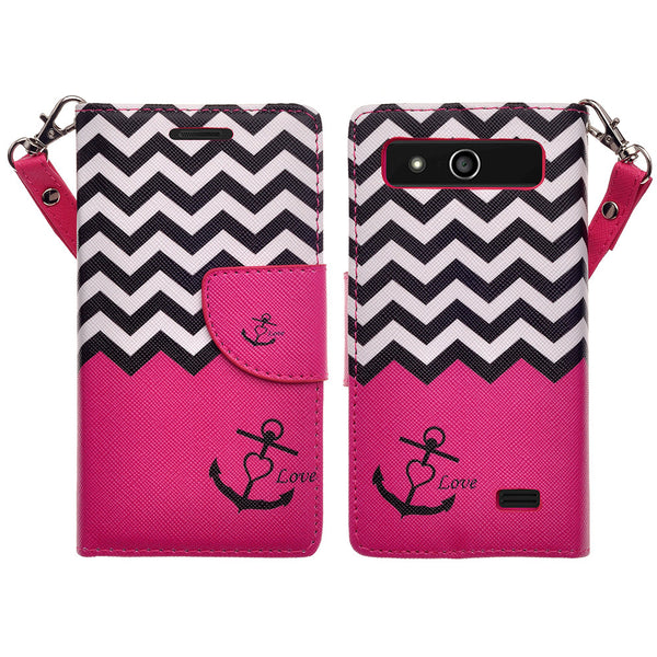 ZTE Speed leather wallet case - hot pink anchor - www.coverlabusa.com