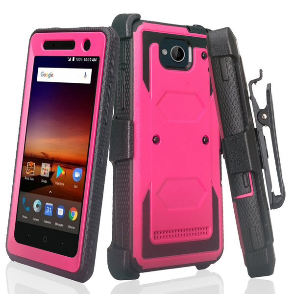 zte tempo heavy duty holster case - hot pink - www.coverlabusa.com