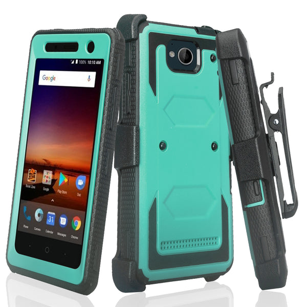 zte tempo heavy duty holster case - teal - www.coverlabusa.com