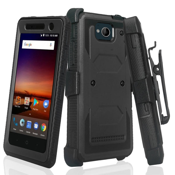 zte tempo heavy duty holster case - black - www.coverlabusa.com
