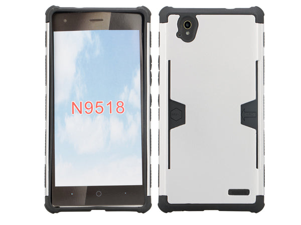 ZTE Warp Elite case - silver hybrid with card slot - www.coverlabusa.com