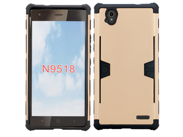 ZTE Warp Elite case - gold hybrid with card slot - www.coverlabusa.com