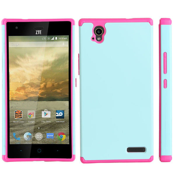 ZTE Warp Elite Slim Hybrid Dual Layer Case - Teal/Hot Pink - www.coverlabusa.com
