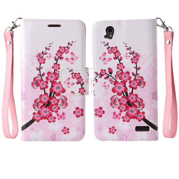 ZTE Warp Elite Wallet Case [Card Slots + Money Pocket + Kickstand] and Strap - Cherry Blossom