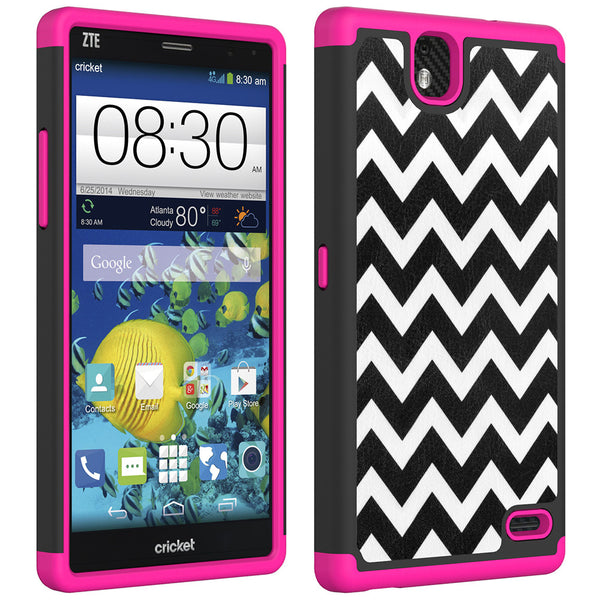 ZTE Grand X Max Slim Dual Layer Heavy Duty Armor Hybrid Case - Hot Pink Chevvron Hybird
