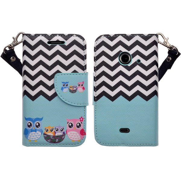 zte z667 cover, zte z667 wallet case - teal owl family - www.coverlabusa.com