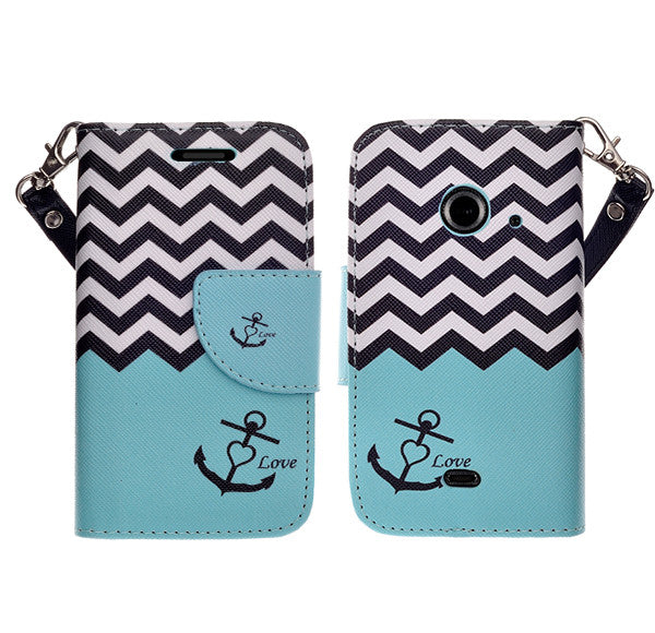 zte z667 cover, zte z667 wallet case - teal anchor - www.coverlabusa.com