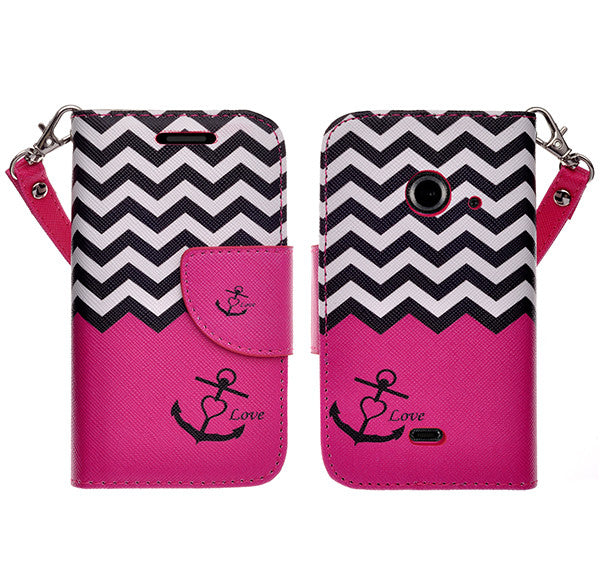 zte z667 cover, zte z667 wallet case - hot pink anchor - www.coverlabusa.com