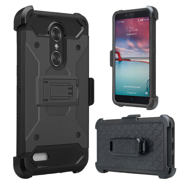 ZTE Max XL, ZTE Blade Max 3, Max Blue, Triple Layer [Built-in Kickstand] Shock Resistant Hybrid Holster Clip Case Cover - Black