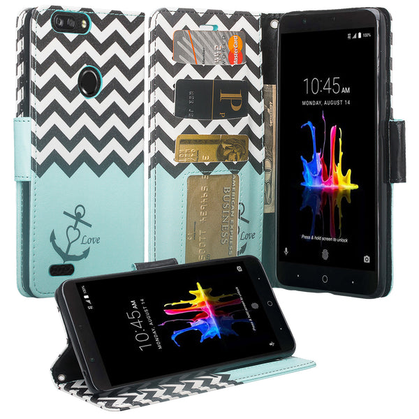 ZTE Sequoia / Blade ZMax Pro 2 / Z982 Wallet Case - Teal Anchor - www.coverlabusa.com