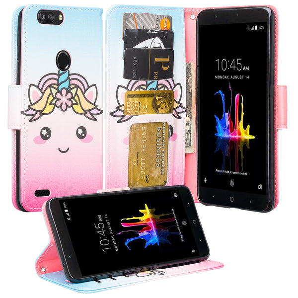 ZTE Sequoia / Blade ZMax Pro 2 / Z982 Wallet Case - White Unicorn - www.coverlabusa.com