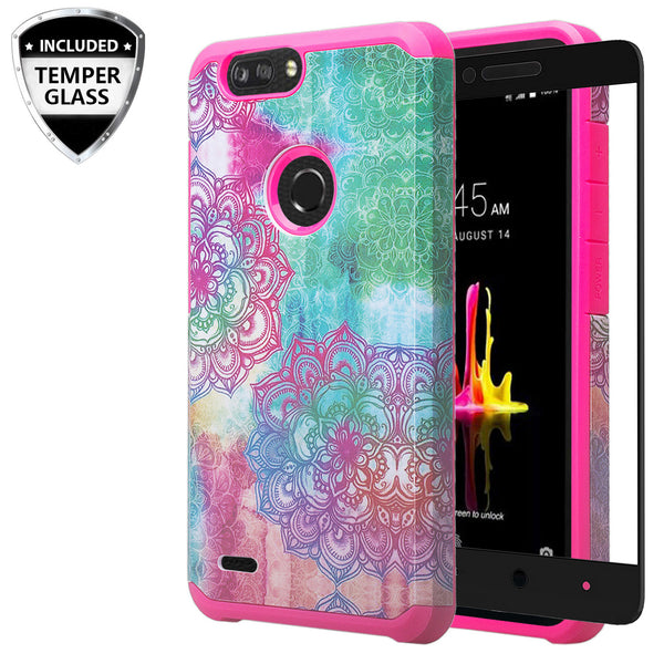 zte sequoia hybrid case - teal flower - www.coverlabusa.com