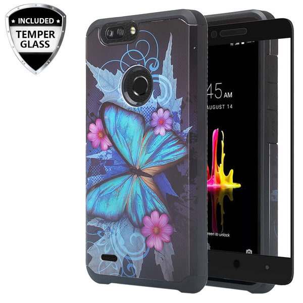 zte sequoia hybrid case - blue butterfly - www.coverlabusa.com