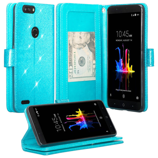 ZTE Sequoia Glitter Wallet Case - Teal - www.coverlabusa.com