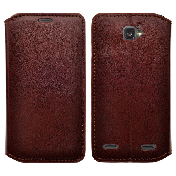 ZTE Zephyr leather wallet case - brown- www.coverlabusa.com