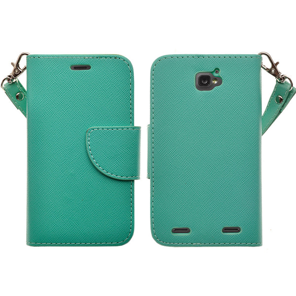 ZTE Zephyr leather wallet case - teal - www.coverlabusa.com