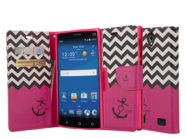 zte zmax 2 leather wallet case - hot pink anchor - www.coverlabusa.com
