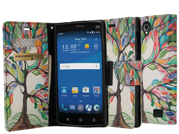 zte zmax 2 leather wallet case - colorful tree - www.coverlabusa.com