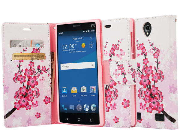 zte zmax 2 leather wallet case - cherry blossom - www.coverlabusa.com