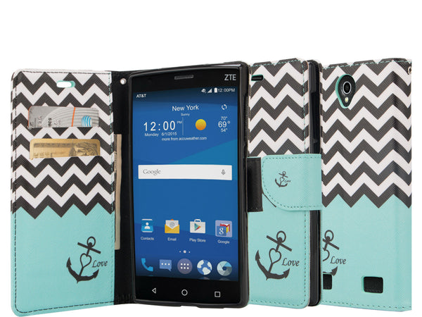 zte zmax 2 leather wallet case - teal anchor - www.coverlabusa.com